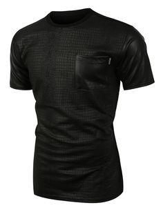 Mens Edgy Faux Leather Slub Raglan Short Sleeve T Shirt