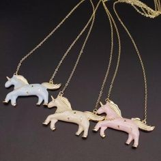 The enamel style unicorn necklace has a trendy fashion design. The beige, blue or pink unicorn necklace has an enamel metal jewelry design. Long Pendant Necklace, Long Necklaces, Metal Jewelry, Unique Jewelry, Unicorn Necklace, Thing 1, Fashion Designer, Unicorn Gifts, Vintage Designs