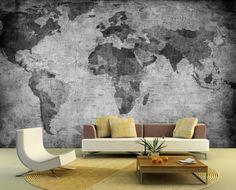 Foto behang Retro Wereldkaart zwart wit