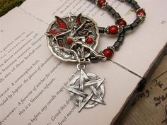 fairy necklace with pentacle  necklace wiccan jewelry pagan,metaphysical