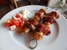 Fotorecept: Grilované kuracie pečienky so šampiňónmi Sausage, Chicken, Meat, Food, Eten, Sausages, Meals, Cubs, Kai