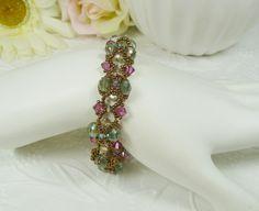 Woven Crystal Bracelet Vintage Inspired in Green by IndulgedGirl