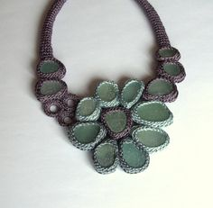 Lavender  eton blue necklace with 14 sea glass  crochet by astash