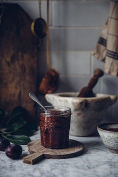 Homemade Plum Jam from the Oven - Our Food Stories Rustic Food Photography, Food Photography Styling, Food Styling, Chutneys, Plum Jam, Cooking Ingredients, Jam Recipes, Food Inspiration, Love Food