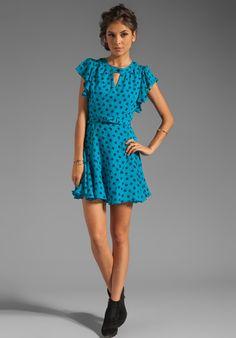 MILLY Silk Clover Print Carlin Flutter Dress in Aqua