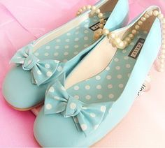 Baby blue shoes with polkadot bows Aqua, Teal, Turquoise, Sock Shoes, Baby Shoes, Polka Dot Shoes, Polka Dots, Shabby Chic, Bow Flats