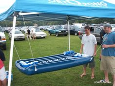 Portable inflatable beer pong table...what is this world coming to. Concert Goers!!