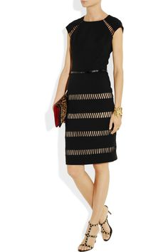 LELA ROSE  Cutout belted wool-blend crepe dress