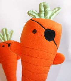 Carrots of the Caribbean, Stuffed Pirate, Stuffed carrot Toy, Baby Toy, Orange Plush toy. $25.00, via Etsy.