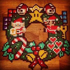 Nintendo Christmas wreath perler beads by pxl_craft