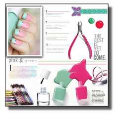 """""""Spring Mani: Pink and Green"""" by rosie305 ❤ liked on Polyvore featuring beauty, Disney and pinkandgreen"""