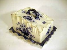 Antique Carlton Ware Lidded Flow Blue Cheese Dish :