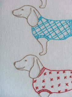 Embroidery: Simply Sausages embroidery and rattle