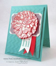 Retro Regarding Dahlias card using the new deco label framelits.  Creative tips on making the 3D flower and more close ups on blog.
