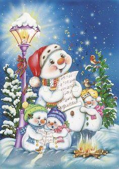 Schneemann - Familie probt für das Weihnachtssingen.