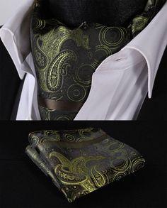 RF411G Green Paisley Silk Cravat Scarves Ascot Tie Hanky Handkerchief Set #SetSense #Ascot