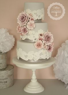 Vintage Lace & Rose Wedding Cake - This cake would look gorgeous with rustic chic wedding decorations!