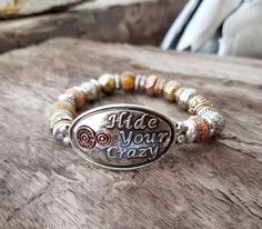 Cowgirl Bling Tri tone HIDE YOUR CRAZY Beaded Stretch  Gypsy BOHO BRACELET  #Unbranded #beaded