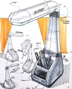 Desk lamp Credit: For more de Industrial Design Sketch, Pool Accessories, Sketch A Day, Sketch Markers, Sketch Design, Presentation Design, Design Process, Designs To Draw, Furniture Design