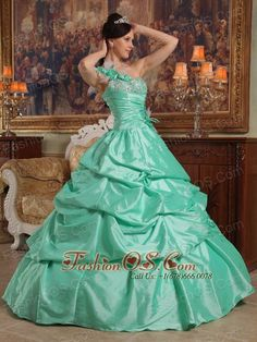 Brand New Apple Green Quinceanera Dress One Shoulder Hand Flowers Taffeta Ball Gown  http://www.fashionos.com  Have you ever dreamed for the romantic and lovely gowns? This one may be just what you are looking for. It has a exquisite flowered one-shoulder neckline with gorgeous beadwork on the top of bodice. The bustline of the dress is embellished with embroidery and beading that add interest and detail.