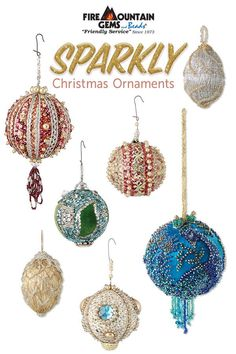 DIY alert -- make your own sparkly Christmas ornaments. Find great ideas to make kitschy and beautiful ornaments with friends and family this season in Fire Mountain Gems and Beads' FREE article. - Fire Mountain Gems and Beads Sequin Ornaments, Christmas Ornaments To Make, Christmas Tree Themes, Handmade Christmas, Christmas Fun, Ornament Crafts, Christmas Projects, Holiday Crafts, Crochet Christmas Decorations