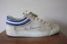 Vintage 1970s Ken Rosewall White Canvas Tennis Sneakers Size UK 8.5