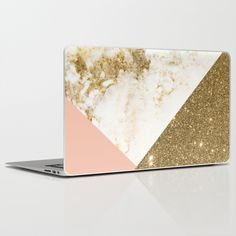 Gold marble collage Laptop & iPad Skin by Cafelab