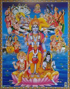 Lord Vishnu Lakshmi Darbar, Brahma Shiva - Normal POSTER (8.5 x 11) Shiva Parvati Images, Lord Krishna Images, Shiva Shakti, Krishna Photos, Hare Krishna, Krishna Art, Lord Shiva Statue, Krishna Statue, Lord Durga