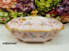 Antique Haviland Limoges Porcelain Covered Serving Bowl ~ Pink Gold Gilt Flowers #HavilandLimoges
