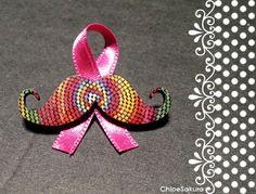 Broche Moustache à points colorés avec ruban de ChloeSakura sur DaWanda.com