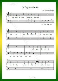 'k Zag twee beren - Gratis bladmuziek van kinderliedjes in eenvoudige zetting voor piano. Piano leren spelen met bekende liedjes.