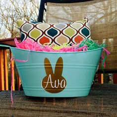 Personalized Easter Basket Easter Bucket Easter Pail Easter Bunny Free Shipping in USA by customvinylbydesign on Etsy