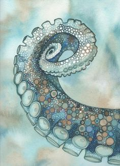 Octopus Tentacle Arm Kunstdruck von Tamara Phillips - Make Up Forever Octopus Tentacles Drawing, Octopus Painting, Octopus Art, Fish Art, Painting & Drawing, Art And Illustration, Octopus Illustration, Watercolor Artwork, Watercolor Ideas