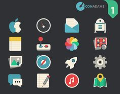 This pack contains 42 icons for basic applications. Game Gui, Flat Icons, Working On Myself, New Work, Behance, Gallery, Check, Free, Pictogram