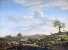 Adriaen van de Velde | Hilly Landscape with a high Road, Adriaen van de Velde, 1660 - 1672 | Heuvelachtig landschap met een hoge weg met een man te paard. Op de voorgrond grazende schapen en rustende herder en herderin in het gras.