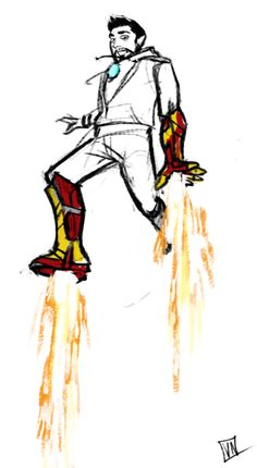 """[Fanart: Tony Stark wearing an Iron Man boot and a glove] vickah: """" i like how tony spent most of the movie only kinda in the suit. """""""