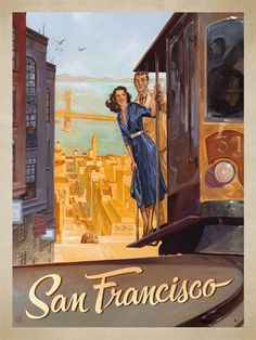 San Francisco Trolley Ride - This series of romantic travel art is made from original oil paintings by artist Kai Carpenter. Styled in an Art Deco flair, this adventurous scene is sure to bring a smile and a smooch to any classic poster art lover!<br />
