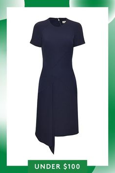 Under-$100 Buys That Will Last You Through Fall #refinery29  http://www.refinery29.com/under-100-fall-fashion-trends#slide-20  The asymmetric hem on this elegant navy dress gives it a modern, unexpected twist — making it a step up from your normal 9-to-5 gear while still being office-appropriate. ...