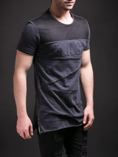 "E1 Men Asymmetrical Side Zippers ""BLACK"" Net T-shirt - Gray"