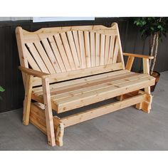 A & L Furniture Western Red Cedar Fanback Outdoor Loveseat Glider Unfinished - Durable Rocking Bench, Outdoor Rocking Chairs, Wicker Chairs, Patio Chairs, Outdoor Glider, Outdoor Loveseat, Pallet Furniture, Outdoor Furniture Sets, Outdoor Decor