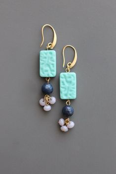 Earrings Handmade gold plated brass hook earrings with Czech glass and dyed jade. - gold plated brass hook earrings with Czech glass and dyed jade. Clay Jewelry, Sea Glass Jewelry, Beaded Jewelry, Jewelry Crafts, Jewellery, Jewelry Ideas, Plastic Jewelry, Amber Jewelry, Jewelry Armoire