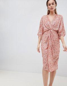 93437543525 DESIGN scatter sequin knot front kimono midi dress