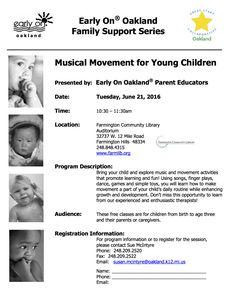 """""""Musical Movement for Young Children"""" is Tuesday, June 21, at the Farmington Community Library.   Contact Sue McIntyre to register at susan.mcintyre@oakland.k12.mi.us"""