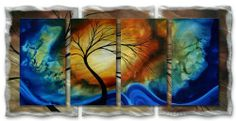 "48x24 Megan Duncanson complimentary growth modern metal wall art, contemporary home décor by ASH CARL DESIGNS. $513.60. Size: 23.5"" T x 48"" W Inches. High Quality Welded and Bolted Construction. Corrosion Resistant Finish. Painted Steel. Hangs in 15 minutes!. Bring a unique look and color to your white walls with this ""Complimentary Growth"" metal wall sculpture by Megan Duncanson. These metal wall hangings consist of torch-cut 18-gauge steel layers, stud constructi..."