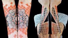 http://tattoomagz.com/geometric-tattoo-sleeves/geometric-tattoo-sleeve-flower-and-arrow/