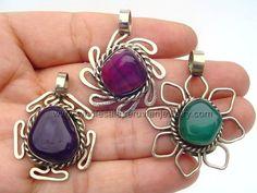 Assorted Agate, Alpaca Silver Pendants  http://www.wholesaleperuvianjewelry.com