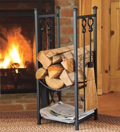 Wood Rack With Tools | Fireplace Tools | Plow & Hearth