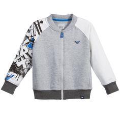 Armani Junior - Grey Zip-Up Top with Graffiti Print Sleeves | Childrensalon