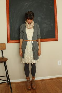 adorable. hipster teacher! love it, but without the scarf.