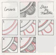 Zentangle 1: 8-Dot Center Piece Zentangle 2: Blooming Lace Zentangle 3: Lotus Zentangle 4: Meer ...